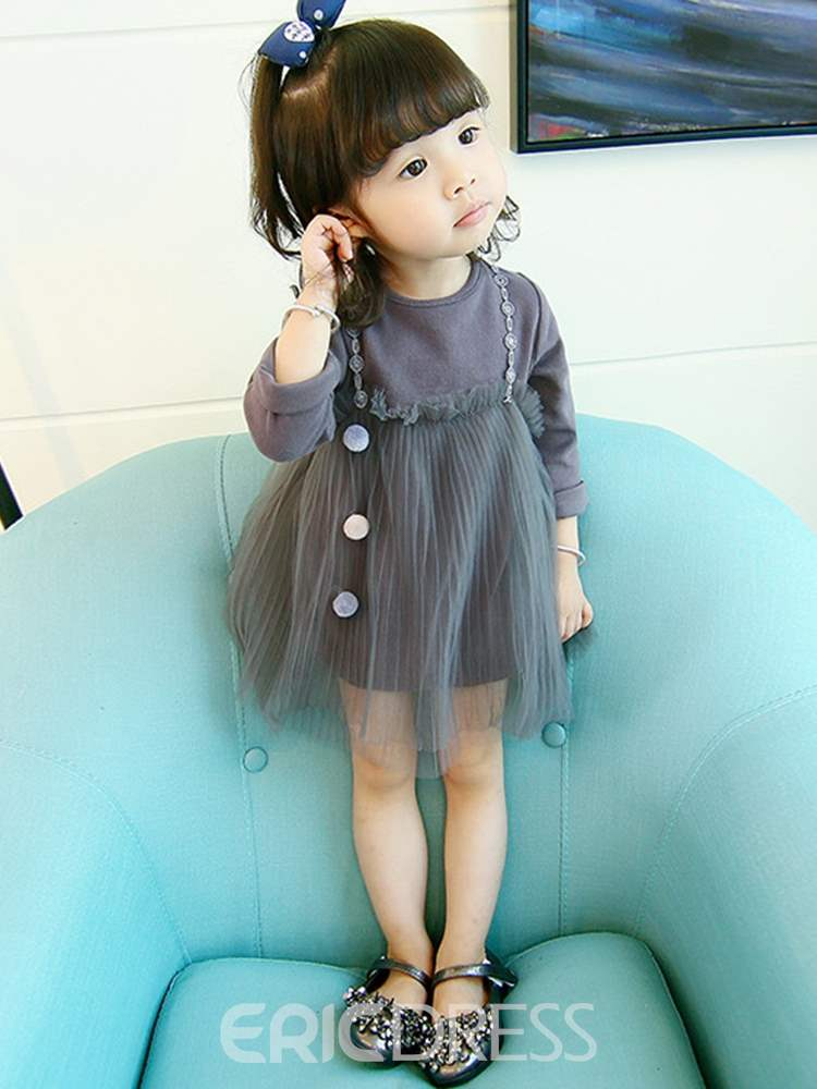 Ericdress Mesh Patchwork Plain Baby Girl's Double-Layered Dress