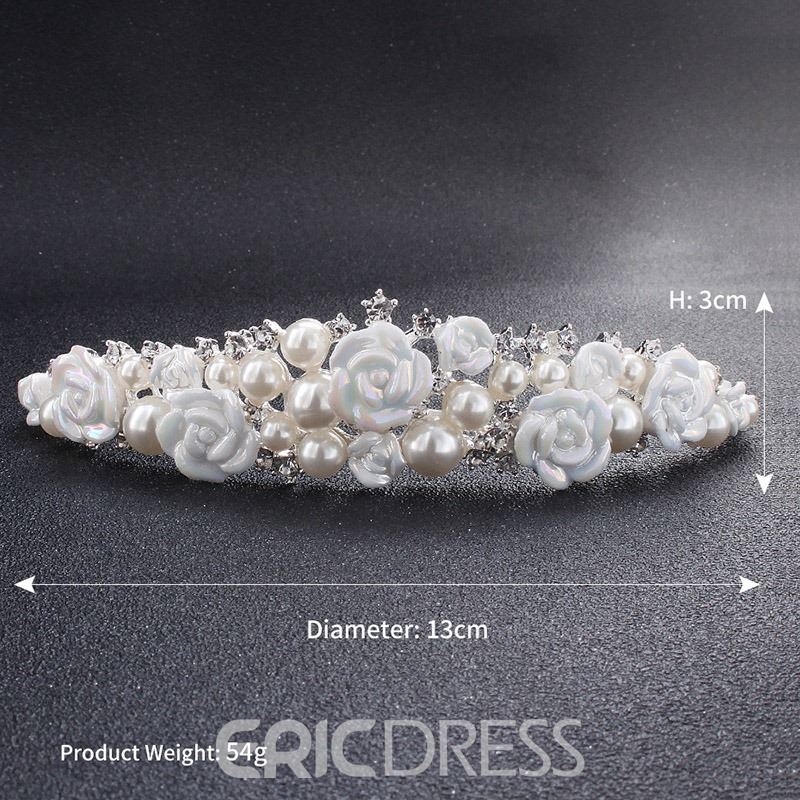 Ericdreress Pearl Rose Wedding Bride Tiara