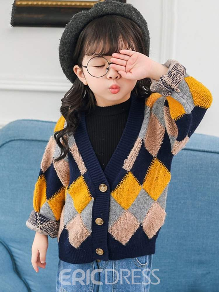 Ericdress Patchwork Button V-Neck Girl's Cardigan Argyle Sweaters