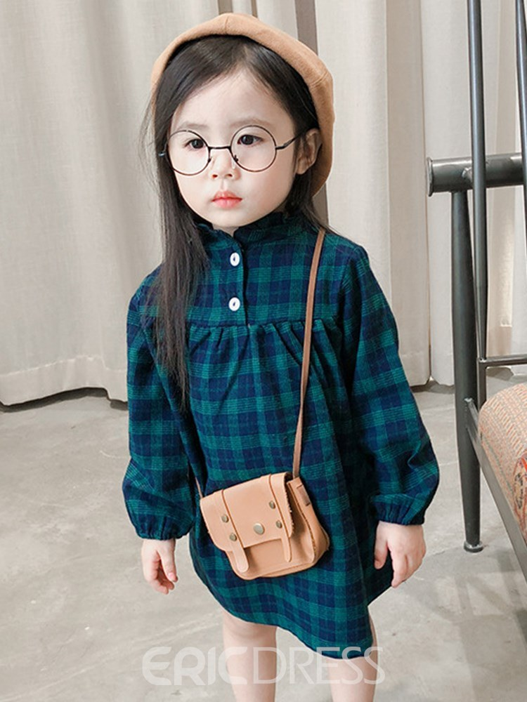 Ericdress Plaid Stand Collar Pullover Girl's Casual Dress