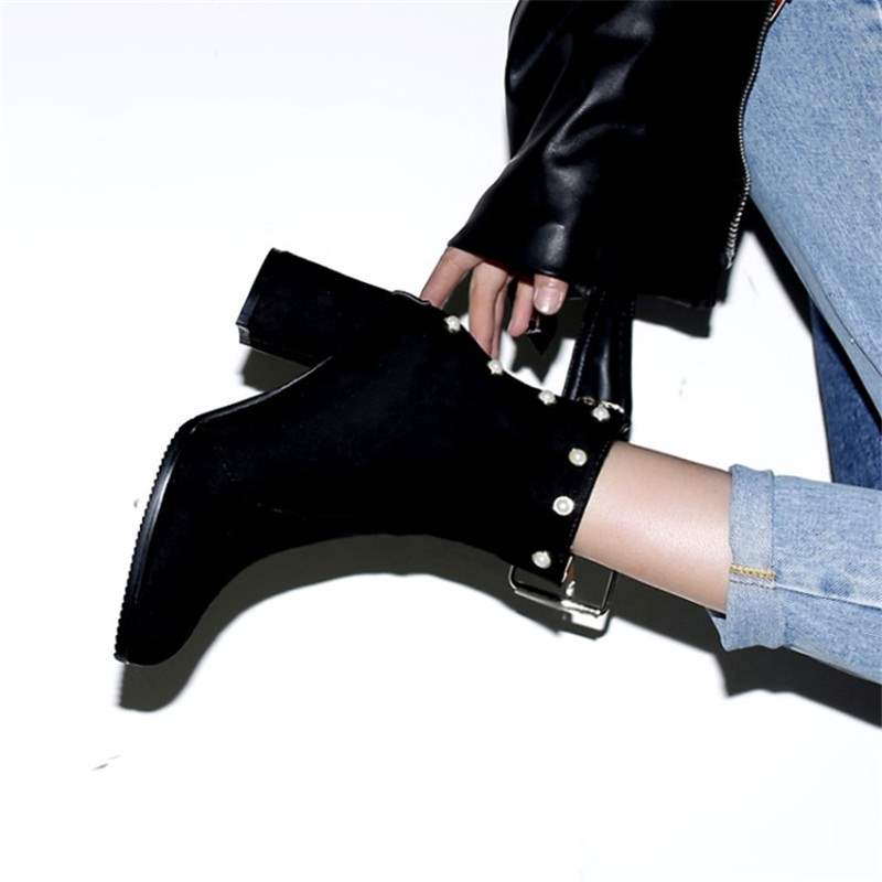 Ericdress Beads Round Toe Chunky Heel Women's Ankle Boots