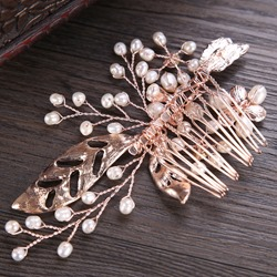 Ericdress Alloy Rhinestone Pearl Wedding Bridal Hair Comb