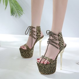 Ericdress Leopard Platform Lace-Up Ultra-High Heel Sandals