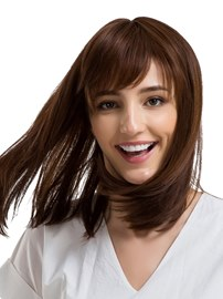 Ericcdress Natural Straight With Bangs Human Hair Capless Wig 14 Inches