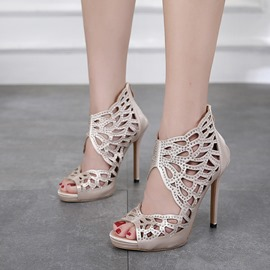 Ericdress Rhinestone Hollow Peep Toe Stiletto Sandals
