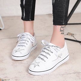 Ericdress Canvas Star Embroidery Platform Lace-Up Women's Flats