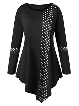 Ericdress Polka Dots Print Asymmetric Long Sleeve Womens T Shirt