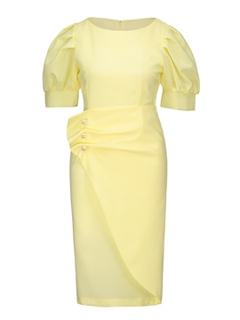 Ericdress Yellow Lantern Sleeve Pleated Patchwork Bead Sheath Dress