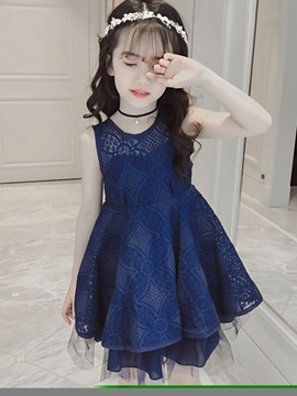 Ericdress Backless Lace A-Line Girl's Sleeveless Princess Dress