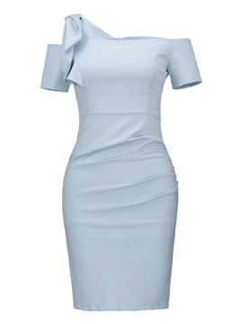Ericdress Blue Slash Neck Pleated Wave Cut Sheath Dress