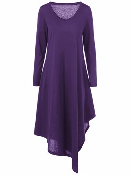 Ericdress Purple V-Neck Asymmetric Pullover Casual Dress