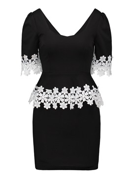 Ericdress V-Neck Pleated Patchwork Lace Sheath Dress