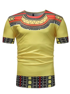 Ericdress Dashiki Printed Stripe Straight Mens T Shirts