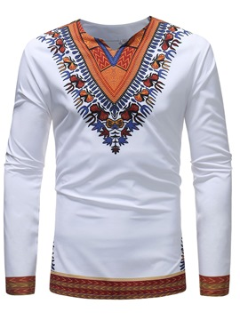 Ericdress Dashiki African Printed Straight Color Block Mens Shirts