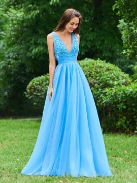 Ericdress A Line Deep V Neck Long Evening Dress With Applique