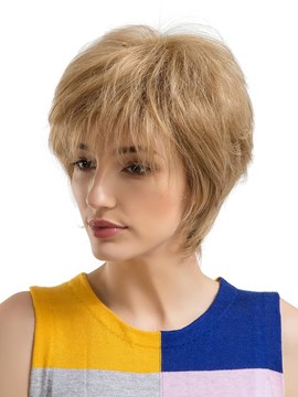Ericdress Short Layered Cut Straight Human Hair Capless Wig