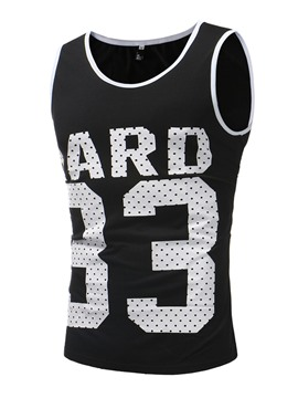 Ericdress Letter Number Printed Slim Scoop Mens Casual Vest