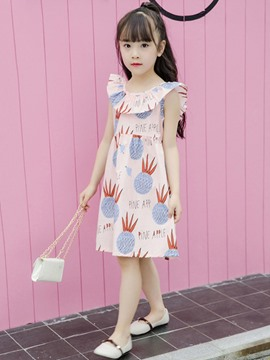 Ericdress Pineapple Printed Lace Up A-Line Girl's Casual Dress