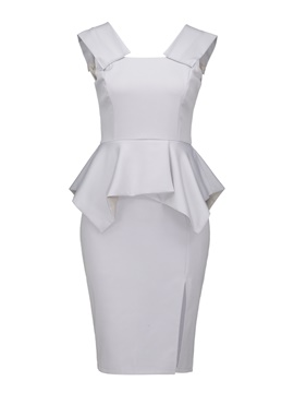 Ericdress Gray Cap Sleeve Pleated Wave Cut Split Sheath Dress