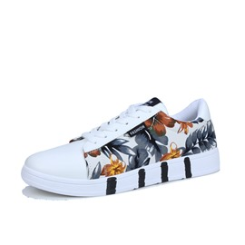 Ericdress Floral Print Lace-Up Round Toe Men's Sneakers