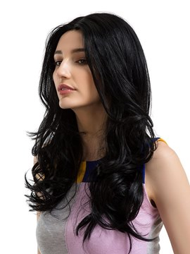 Ericdress Big Curly Middle Parting Human Hair Women Capless Wig 24 Inches