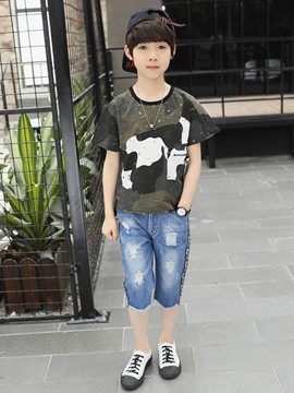 ericdress camuflaje camisetas denim ripped shorts boy's outfits
