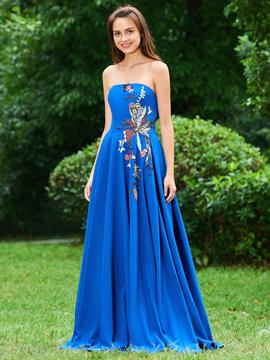 Ericdress A Line Strapless Scrawl Applique Long Prom Dress