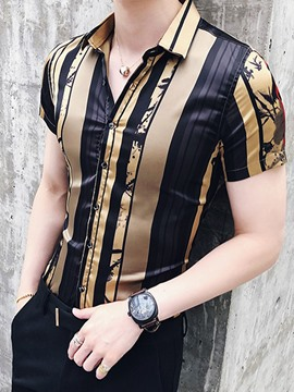 Ericdress Golden Vertical Stripe Slim Fit Mens Short Sleeve Shirts
