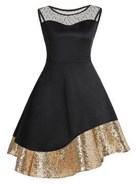 Ericdress Patchwork Sequins Lace A-Line Dress