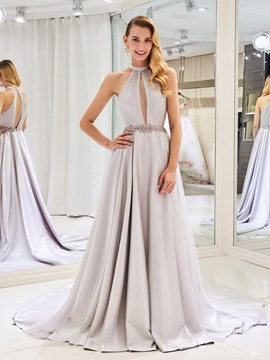 Ericdress Halter Hollow Beading Color Wedding Dress