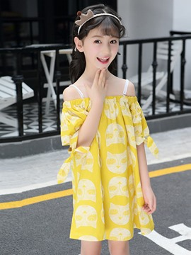 Ericdress Yellow Printed Spaghetti Strap Slash Neck Girl's Dress