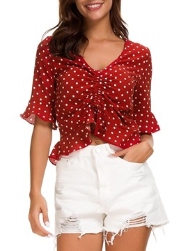 Ericdress Polka Dots Short Print Short Sleeve Crop Top