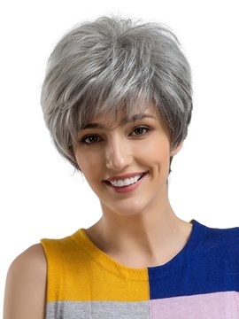 Ericdress Short Type Granny Gray Human Hair Womenn Capless Wig 8 Inches