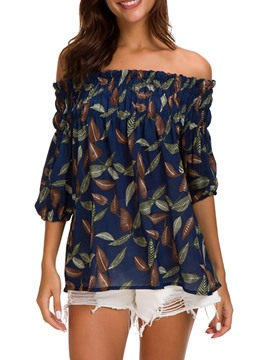 Ericdress Print Off Shoulder Loose Womens Top