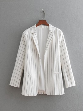 Ericdress Stripe Notched Lapel Long Sleeves Blazer