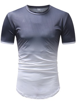 Ericdress Gradient Color Block Mens Short Sleeve Casual T Shirts