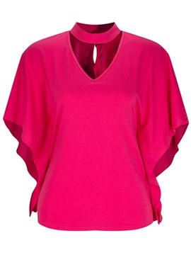 Ericdress Batwing Sleeve Plain Single Loose Womens T Shirt