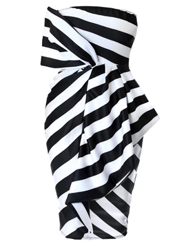 Ericdress Stripe Color Block Backless Patchwork Bodycon Dress