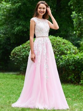 Ericdress A Line Scoop Neck Applique Long Prom Dress