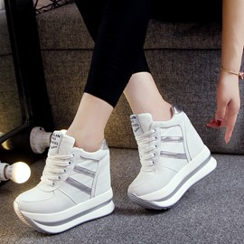 Ericdress Plain Patchwork Lace-Up Platform Women's Sneakers