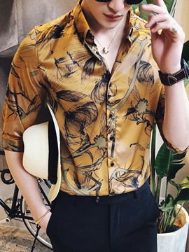Ericdress Floral Printed Half Sleeve Slim Fit Mens Shirts