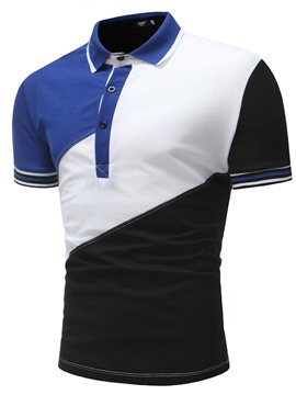 Ericdress Patchwork Color Block Loose Mens Polo T Shirts