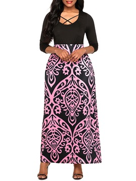 Ericdress Patchwork Print High-Waist Maxi Dress