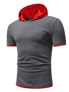 Ericdress Color Block Slim Fit Hoodied Mens Pullover T Shirts