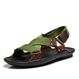 Ericdress Velcro Rivet Thread Color Block Men's Sandals