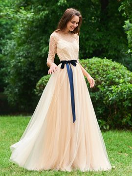 Ericdress 3/4 Sleeve A Line Long Evening Dress
