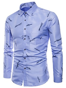 Ericdress Stripe Slim Fit Mens Long Sleeve Casual Dress Shirts