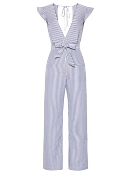 Ericdress Stripe Backless Ruffles Women's Jumpsuit