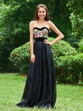 Ericdress A Line Sweetheart Embroidery Black Prom Dress