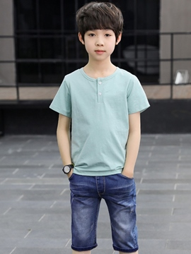 ericdress Plain T-Shirts & Denim Shorts Jungen Casual Outfits